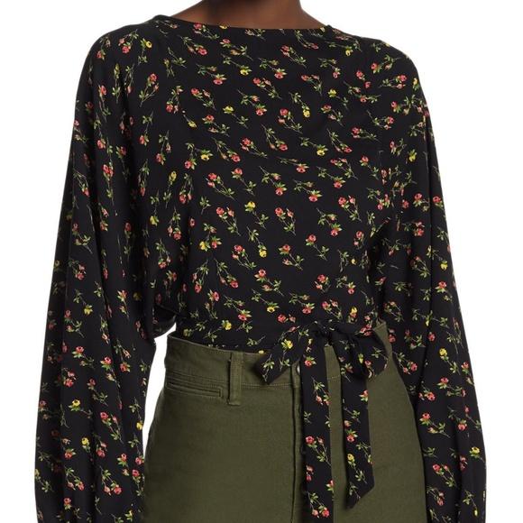LPA Floral Long Sleeve Tie Crop Blouse S